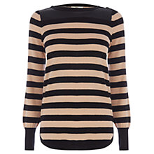 Buy Oasis Pu Stripe Block Top, Black/Taupe Online at johnlewis.com