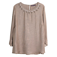 Buy Violeta by Mango Beaded Neck Blouse, Light Pastel Brown Online at johnlewis.com