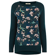Buy Oasis Bird Floral Jumper, Teal Online at johnlewis.com
