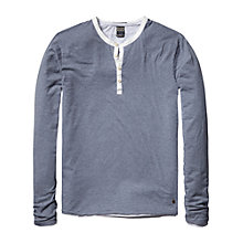 Buy Scotch & Soda Long Sleeve Grandad T-Shirt, Blue Steel Melange Online at johnlewis.com