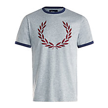 Buy Fred Perry Laurel Wreath Print T-Shirt, Steel Marl Online at johnlewis.com