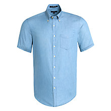 Buy Gant Perfect Indigo Short Sleeve Chambray Shirt, Indigo Online at johnlewis.com