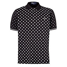 Buy Fred Perry Polka Dot Print Polo Shirt, Black Online at johnlewis.com