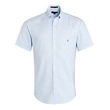 Buy Gant Sunset Striped Oxford Short Sleeve Shirt, Sea Blue Online at johnlewis.com