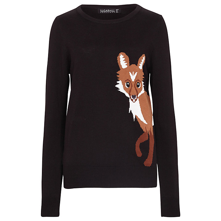 Buy Sugarhill Boutique Curious Fox Jumper, Black, 8 Online at johnlewis.com