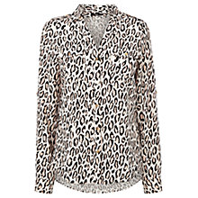 Buy Oasis Leopard Viscose Shirt, Animal Online at johnlewis.com