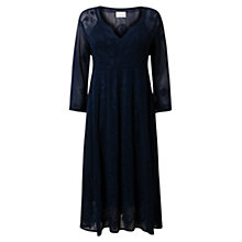 Buy East 3 / 4 Sleeve Chikan Dress. Navy Online at johnlewis.com