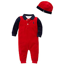 Buy Polo Ralph Lauren Velour Polo Romper Gift Set, Set of 3, Red/Navy Online at johnlewis.com