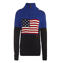 Buy Polo Ralph Lauren Boys' Flag Print Half-Zip Jumper, Blue/Navy Online at johnlewis.com