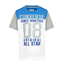 Buy Converse Children's All Star Rolled Cuff T-Shirt, White/Blue Online at johnlewis.com