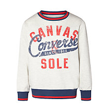Buy Converse Boys' Crew Neck Jumper, Natural Online at johnlewis.com