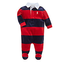 Buy Polo Ralph Lauren Baby Stripe Velour Rugby Romper, Red/Navy Online at johnlewis.com
