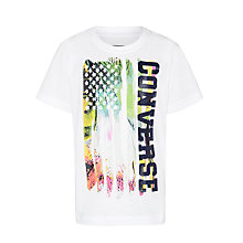Buy Converse Boys' Flag Print T-Shirt, White Online at johnlewis.com