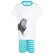 Buy John Lewis Boy Short Lion Pyjamas, Cream Online at johnlewis.com