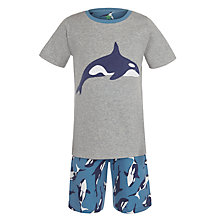 Buy John Lewis Boy Short Sleeve Killer Whale Print Pyjamas, Grey/Blue Online at johnlewis.com