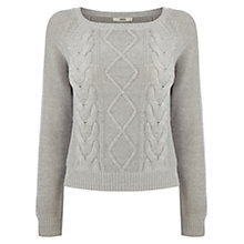 Buy Oasis Crop Cable Jumper, Pale Grey Online at johnlewis.com