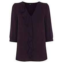 Buy Oasis Frill Pleat Blouse, Dark Purple Online at johnlewis.com