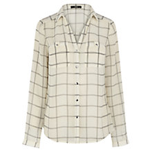 Buy Oasis Chiffon Check Shirt, Black/White Online at johnlewis.com