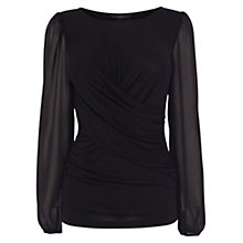 Buy Coast Clea Drape Top, Black Online at johnlewis.com