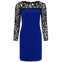 Buy Adrianna Papell Lace Detail Shift Dress, Iris/Black Online at johnlewis.com