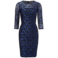 Buy Adrianna Papell Geometric Lace Dress, Navy/Bright Blue Online at johnlewis.com