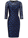 Adrianna Papell Geometric Lace Dress, Navy/Bright Blue