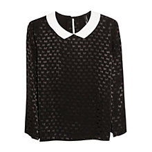Buy Mango Babydoll Blouse, Black Online at johnlewis.com