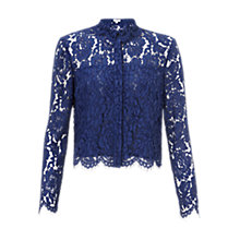 Buy Whistles Chay Lace Cropped Shirt, Blue Online at johnlewis.com