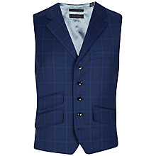 Buy Ted Baker Endurance Belayw Sterling Wool Check Waistcoat, Bright Blue Online at johnlewis.com
