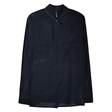 Buy Mango Chest-Pockets Silk Shirt, Navy Online at johnlewis.com