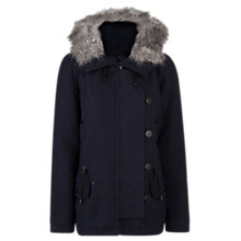 Buy Mango Faux Fur Hood Parka, Navy Online at johnlewis.com