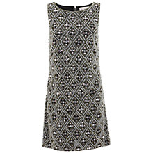 Buy Miss Selfridge Premium Collection Harlequin Shift Dress, Black Online at johnlewis.com