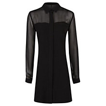 Buy Mango Transparent Panel Blouse, Black Online at johnlewis.com