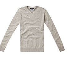 Buy Tommy Hilfiger Plaited Crew Neck Sweatshirt, Snow White Online at johnlewis.com
