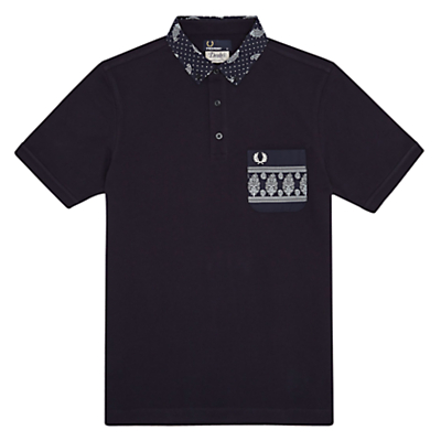 Fred Perry Drakes Paisley Collar Polo Shirt Navy