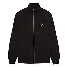 Buy Fred Perry Zip-Through Cotton Cardigan, Black Online at johnlewis.com