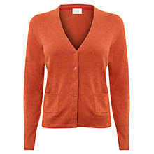 Buy East V Neck Button Cardigan, Ginger Online at johnlewis.com