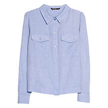 Buy Mango Puffed-Shoulder Shirt, Medium Blue Online at johnlewis.com