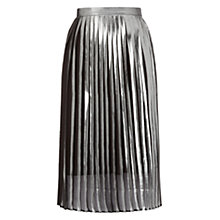 Buy Whistles Metallic Pleat Skirt, Silver Online at johnlewis.com