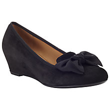 Buy Gabor Button Suede Bow Wedges, Black Online at johnlewis.com