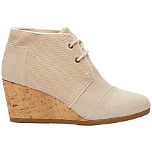 Buy TOMS Desert Canvas Wedge Heeled Ankle Boot, Natural Online at johnlewis.com