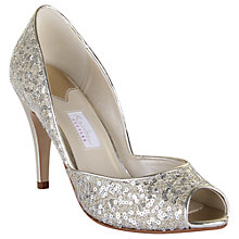 Buy Rainbow Couture Tamara Glitter Covered Peep Toe Shoes, Silver Online at johnlewis.com