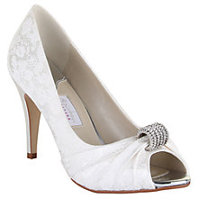 Buy Rainbow Club Fabia Floral Printed Peep Toe Shoes, Ivory Online at johnlewis.com