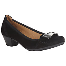 Buy Gabor Wiggle Suede Court Shoes, Black Online at johnlewis.com