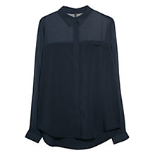 Buy Mango Chiffon Panel Blouse, Medium Blue Online at johnlewis.com
