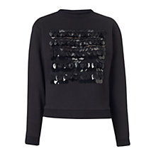 Buy Whistles Sequin Disc Jumper, Black Online at johnlewis.com