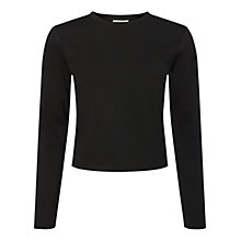 Buy Whistles Ponte Long Sleeve Cropped T-Shirt Online at johnlewis.com
