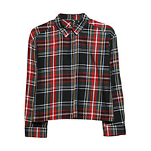 Buy Mango Plaid Cropped Shirt, Bright Red Online at johnlewis.com