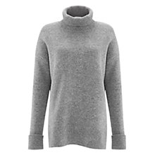Buy Whistles Bonded Oversized Roll Neck Jumper, Pale Grey Online at johnlewis.com