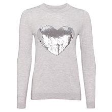 Buy Whistles Sequin Heart Sweater, Pale Grey Online at johnlewis.com